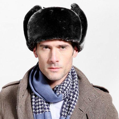 Outdoor Faux Fur and Button Embellished PU Lei Feng Hat - Black