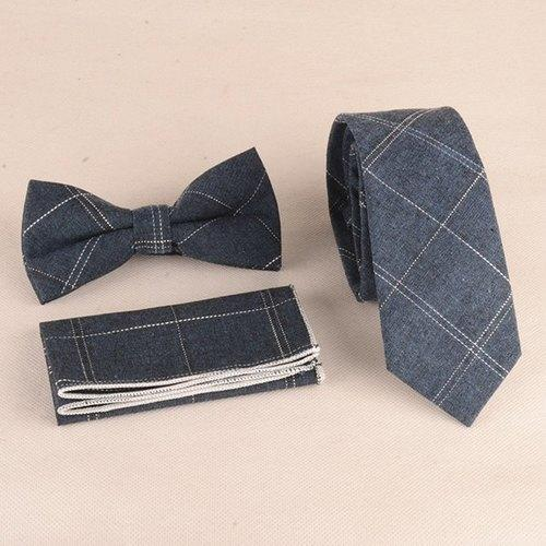 Gingham Pattern Tie Pocket Square and Bow Tie - Blue Gray