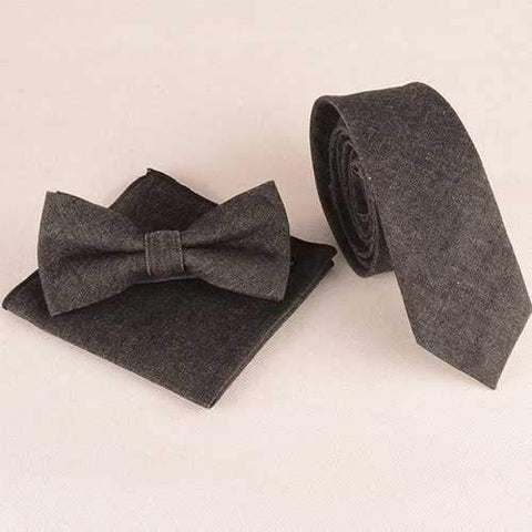 Denim Tie Pocket Square and Bow Tie - Black