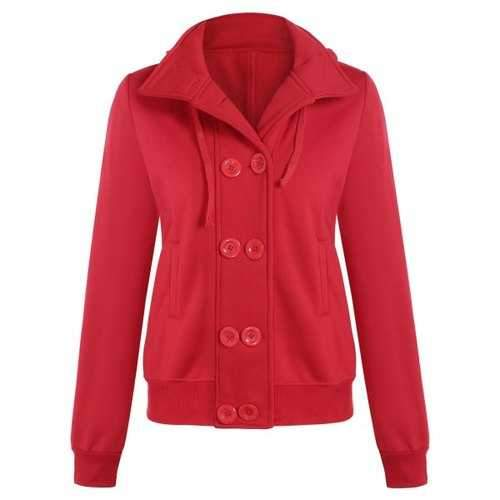 Hooded Long Sleeve Peacoat - Red L