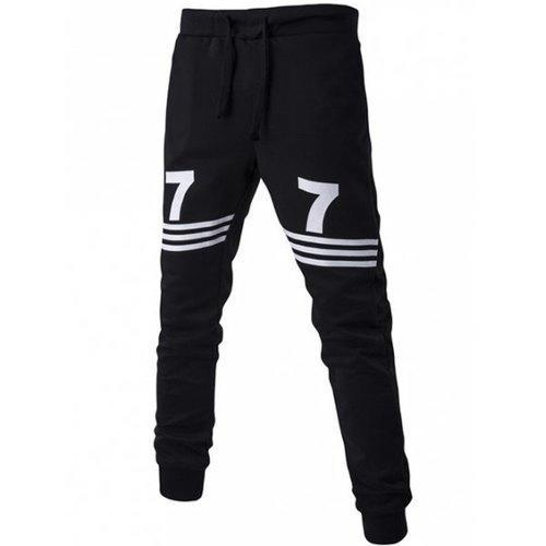 Number Print Striped Drawstring Jogger Pants - Black 2xl