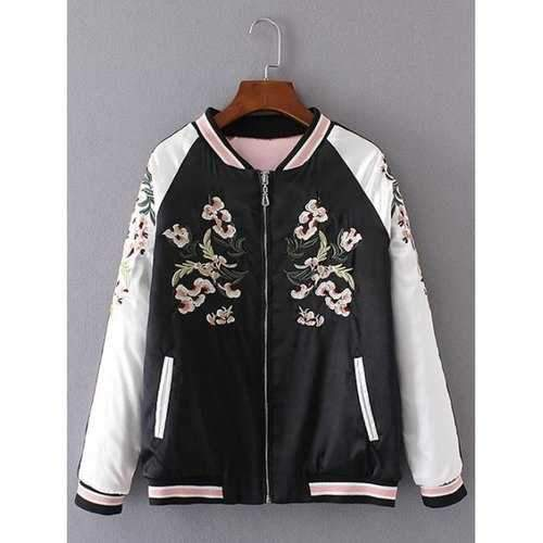 Embroidered Insider Wear Padded Baseball Jacket - Black Xs