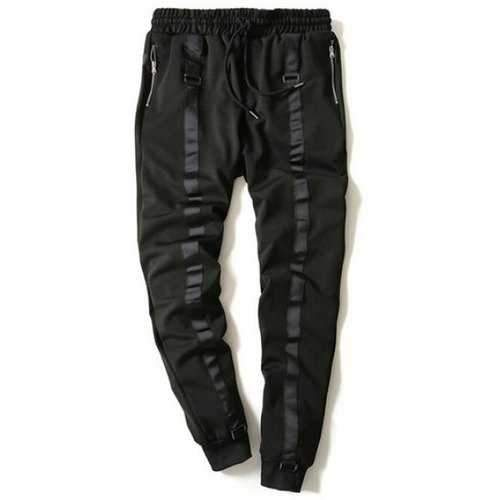 Drawstring Zip Stripe Embellished Beam Feet Jogger Pants - Black L