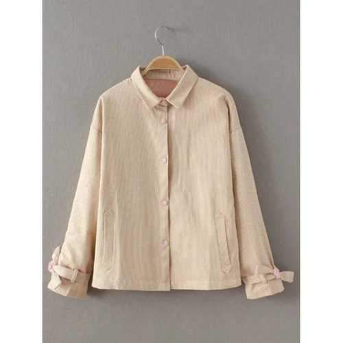 Vertical Stripe Button Fly Jacket - Apricot One Size