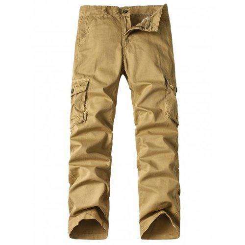 Zipper Fly Pockets Design Straight Leg Cargo Pants - Khaki 38