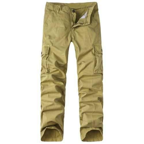 Zipper Fly Pockets Design Straight Leg Basic Cargo Pants - Khaki 34