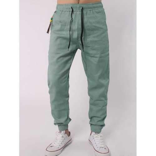 Drawstring Elastic Waist Beads Embellished Beam Feet Jogger Pants - Light Green L