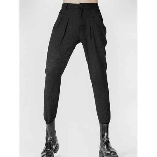 Narrow Feet Zipper Fly Pleated Texture Pants - Black 29