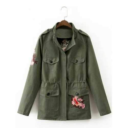 Drawstring Floral Embroidered Field Jacket - Army Green M
