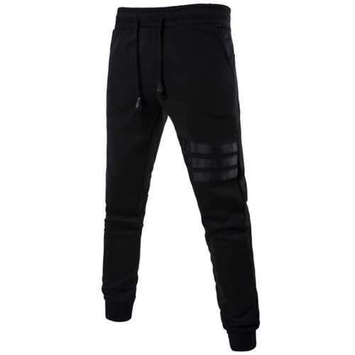 Mid Rise Drawstring Striped Jogger Pants - Black L