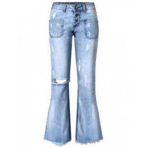 Broken Hole with Pockets Buttoned Jeans - Blue 34