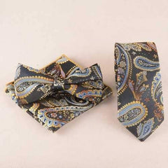 Casual Classic Cashews Pattern Tie Pocket Square Bow Tie - Black