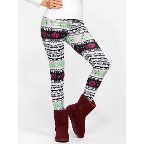 Christmas Ornate Print Slim Fit Leggings - Xl