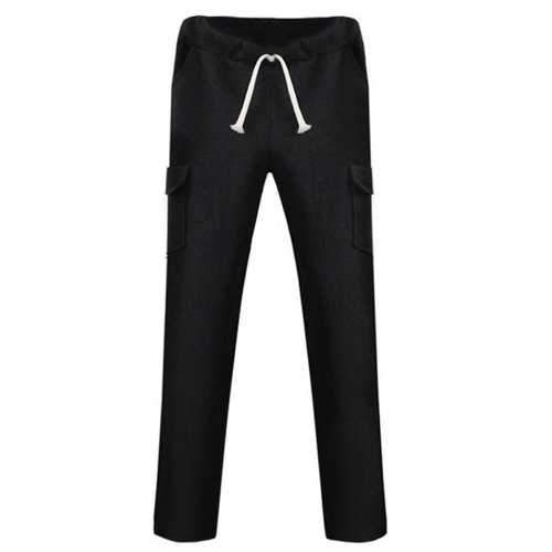 Lace Up Pockets Design Straight Leg Pants - Black 2xl