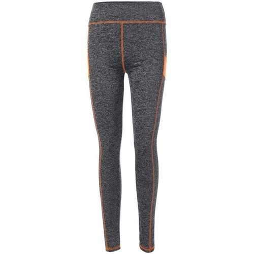 High Waist Stretchy Contrast Leggings - Orange M