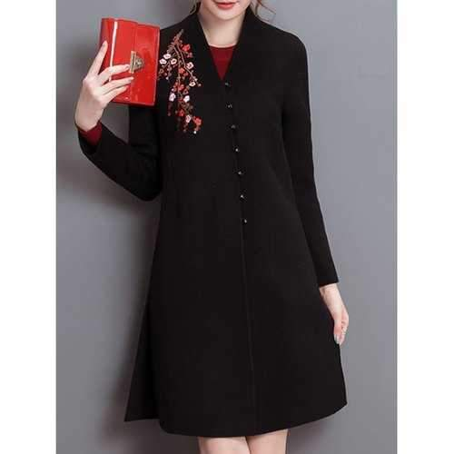 Embroidery Fit and Flare Woolen Blend Coat - Black M