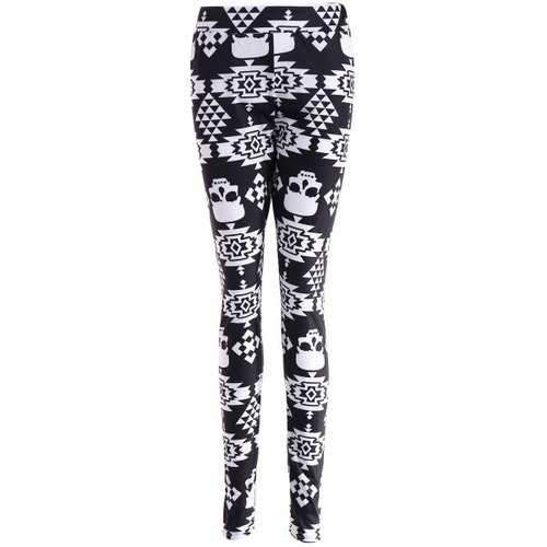 Skull Print Stretchy Leggings - Black L