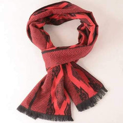 Winter Symmetry Rhombus Fringe Scarf - Red