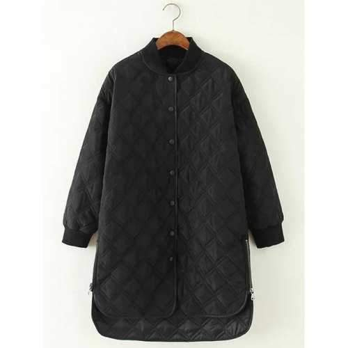High Low Long Winter Argyle Padded Coat Jacket - Black M