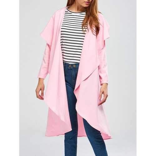 Long Asymmetric Drape Duster Coat - Pink Xl
