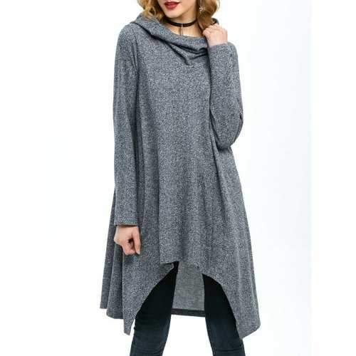 High Low Hem Hooded Coat - Gray M