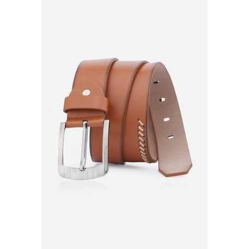 Pin Buckle Retro Sewing Thread Wide Belt - Brown