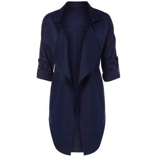 Open Front Coat - Purplish Blue Xl