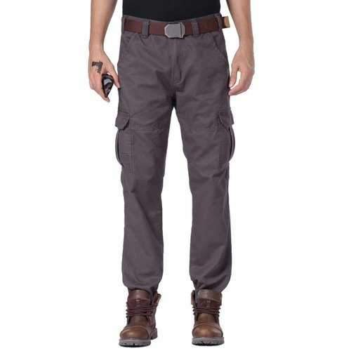 Slim Fit Zipper Fly Cargo Pants with Pockets - Gray 30