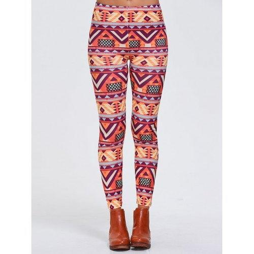 Geometric Print Stretchy Sports Leggings - Orangepink M