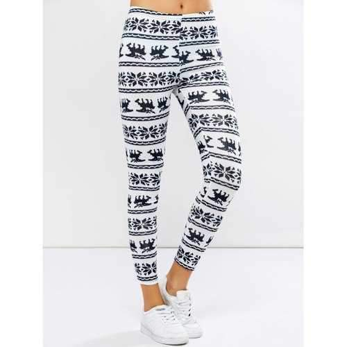 Elk Graphic Christmas Leggings - White S