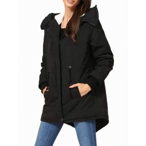 Hooded High Low Parka - Black Xs