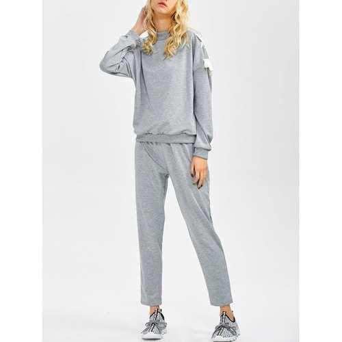 Lace Up Sweatshirt and Jogger Pants - Gray L