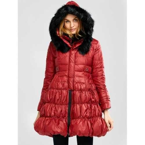 Long Skirted Down Coat With Fur Hood - Red S