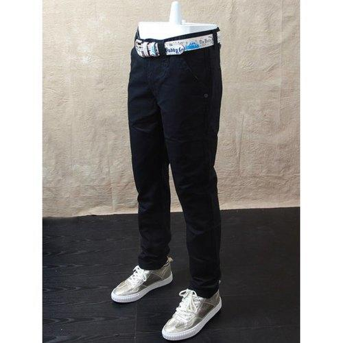Casual Straight Leg Zip Fly Pants - Black 36