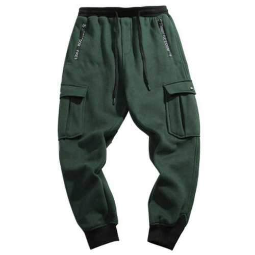 Drawstring Waist Flap Pocket Jogger Pants - Green Xl