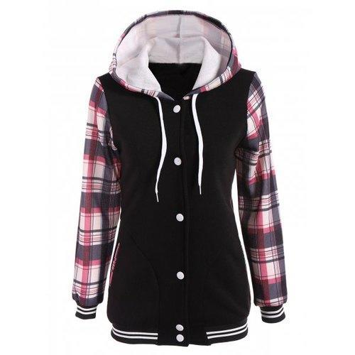 Varsity Striped Plaid Jacket with Hood - Light Red M