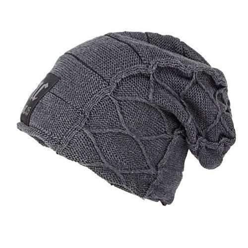 Letter Patch Flocking Knitted Slouchy Beanie - Gray
