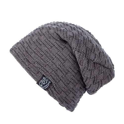 Woven Stripes Label Flocking Knit Hat - Dark Khaki