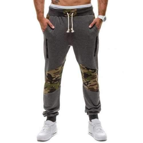 Zippered Camo Panel Drawstring Jogger Pants - Deep Gray L