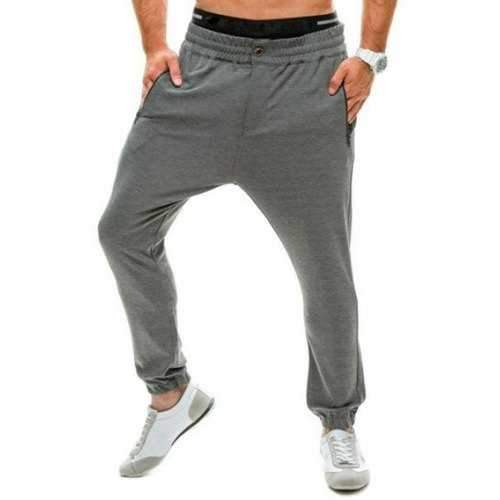 Loose Elastic Waist Zip Pocket Jogger Pants - Gray L