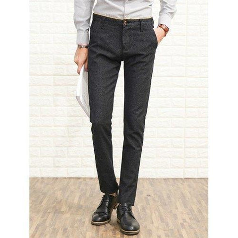 Slim Fit Zip Fly Heather Chino Pants - Deep Gray 33