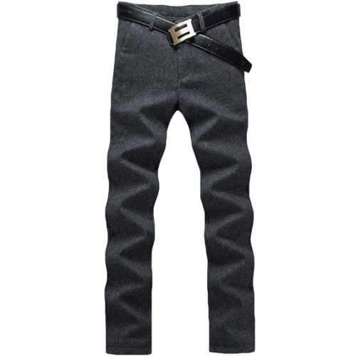 Zip Fly Straight Leg Heather Pants - Black 32