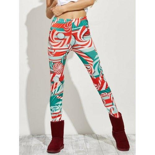 High Waist Skinny Christmas Candy Leggings - Red Xl