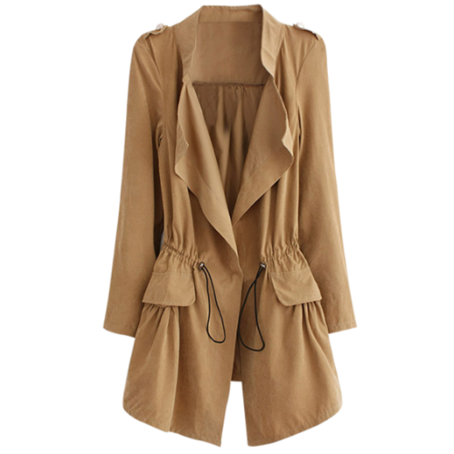 Epaulet  Drawstring Coat With Pockets - Khaki L