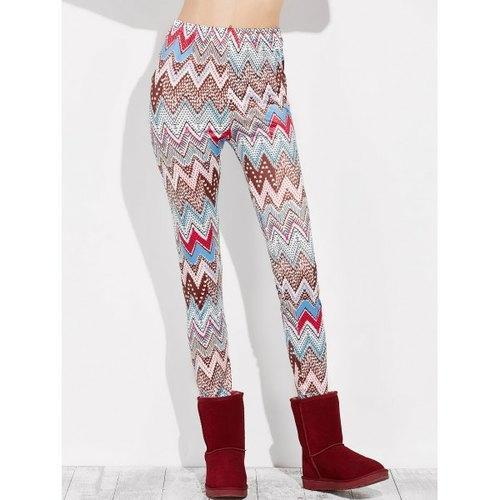 High Rise Leggings With Zigzag Print - Xl