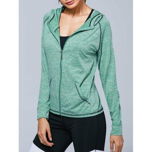 Zip Up Hooded Running Jacket - Light Green M