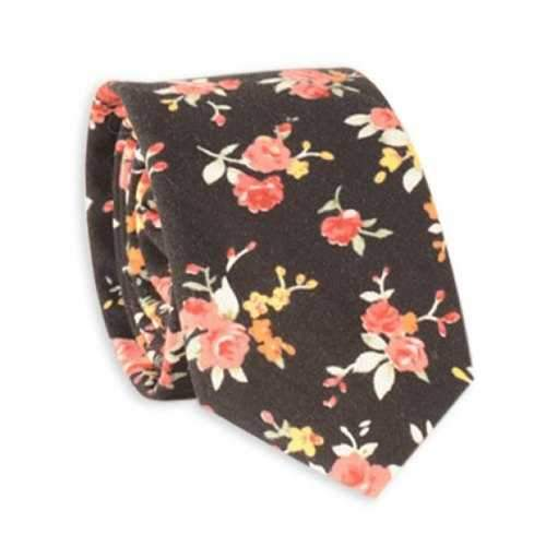Rose Blossom Print Retro Neck Tie - Black