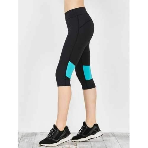 Two Tone Workout Capri Leggings - Blue Green Xl