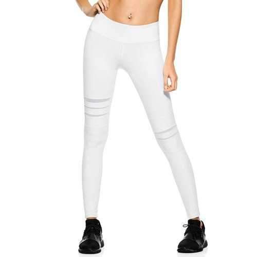 Stretchy Mesh Panel Yoga Pants - White M