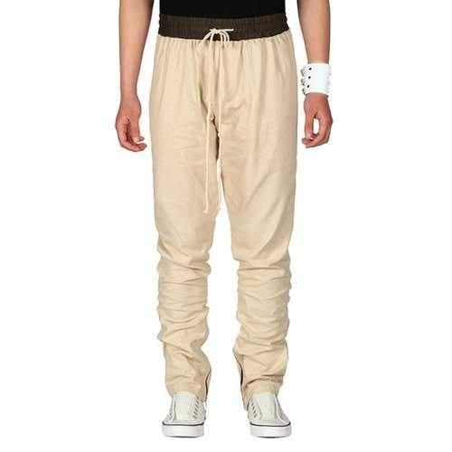 Casual Drawstring Straight Leg Pants - Khaki Xl
